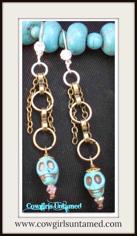 COWGIRL GYPSY EARRINGS Aqua Turquoise Skull with Rhinestone Strand Earrings