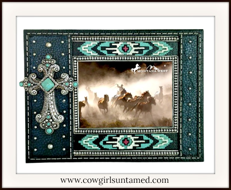 CHRISTIAN COWGIRL HOME DECOR Turquoise and Silver Cross Western Photo Frame
