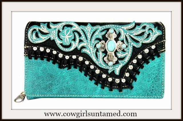 COWGIRL STYLE WALLET Turquoise Floral Overlay Cross Black Leather Whipstitch Wallet