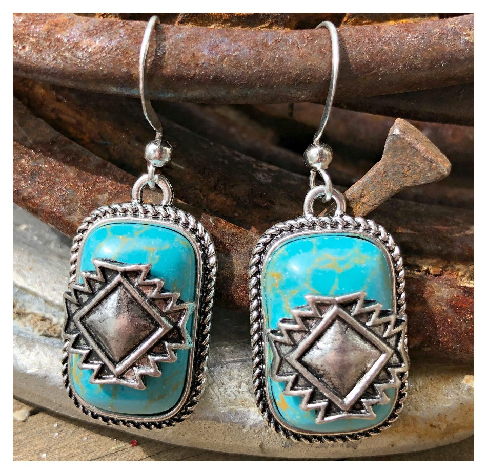 THE AZTEC EARRINGS Genuine 925 SS Turquoise Silver Aztec Accent Dangle Western Earrings