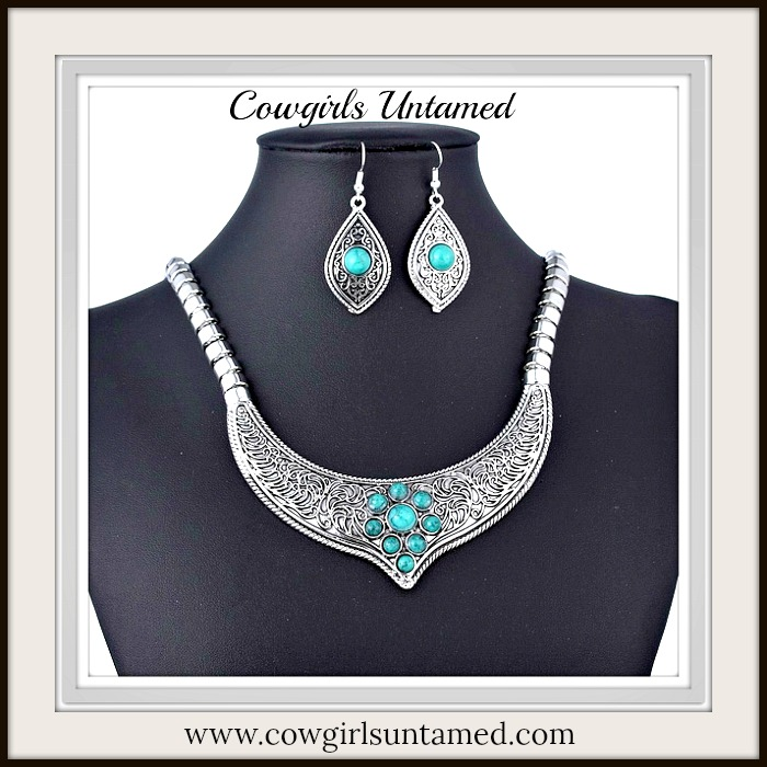 COWGIRL GYPSY NECKLACE SET Turquoise Stone Silver Bib Necklace & Earring Set