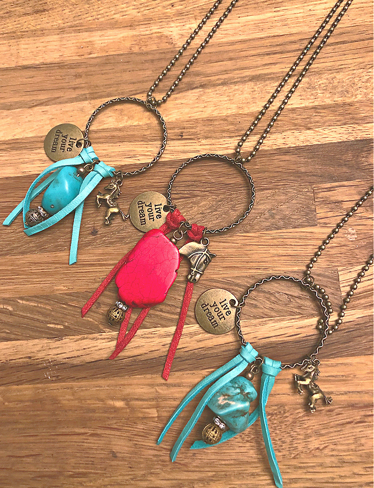 LIVE YOUR DREAM NECKLACE Handmade Turquoise Antique Bronze Horse Quote Tassel Rhinestone Charm Vintage Western Necklace 2 COLORS & STYLES