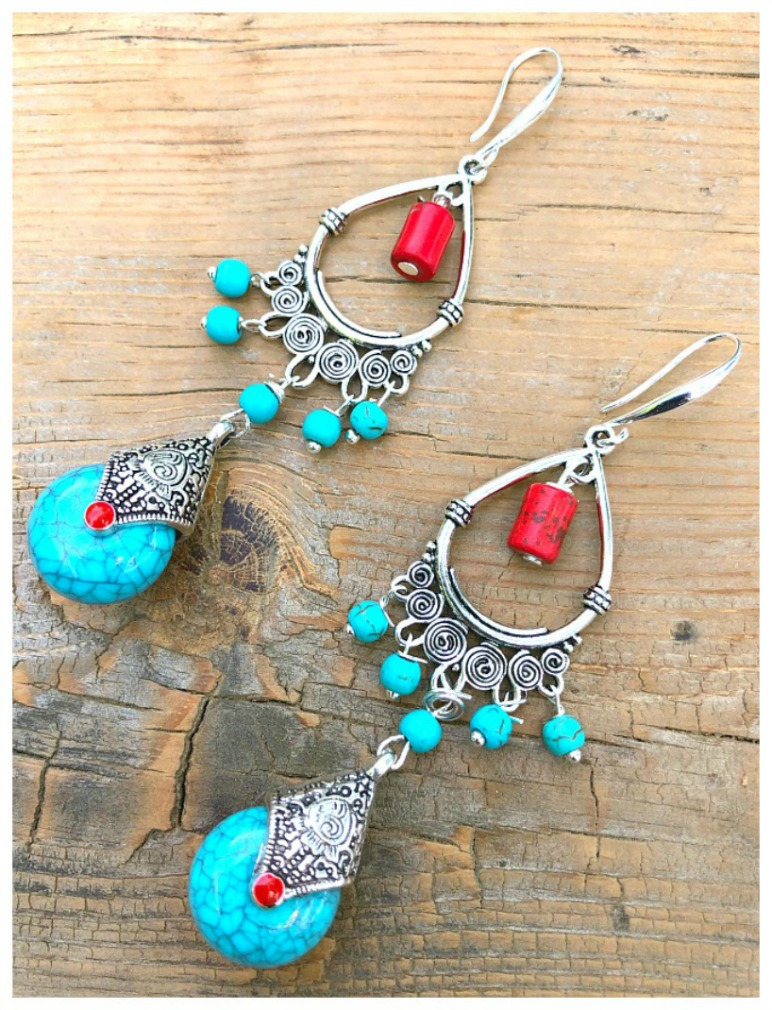 THE SILESIA EARRINGS Handmade Red Coral & Turquoise Charm Chandelier Silver Bohemian Statement Earrings