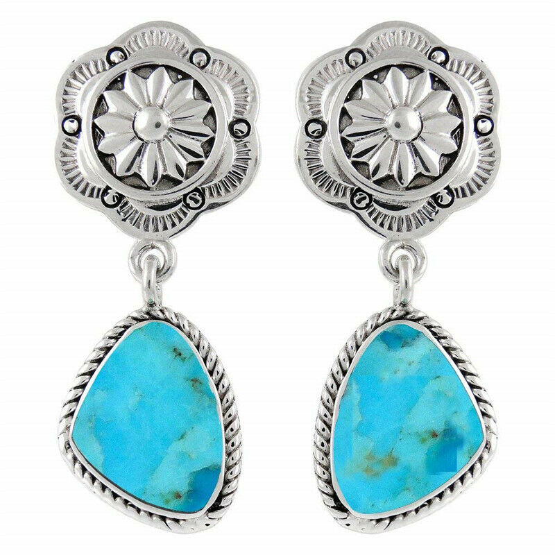 WESTERN PRAIRIE EARRINGS Long Silver Floral Stud with Turquoise Charm Dangle Cowgirl Earrings