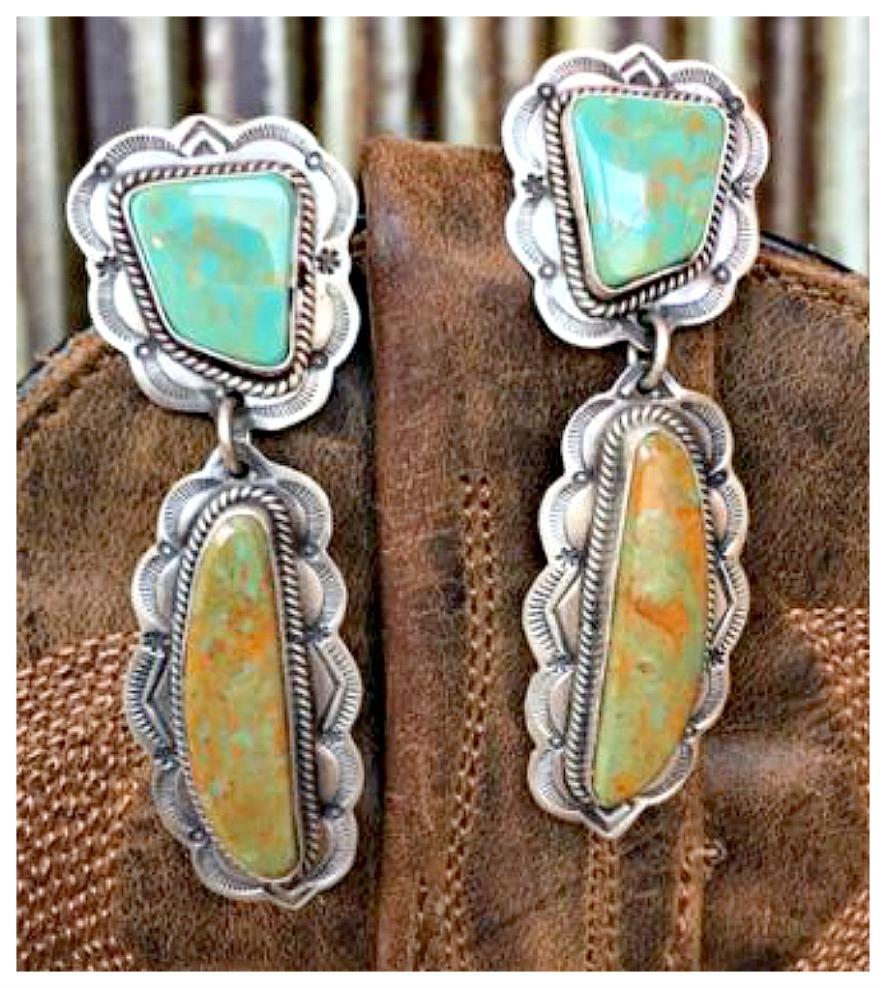 SEDONA EARRINGS Etched Sterling Silver Turquoise & Brown Jasper Dangle Earrings