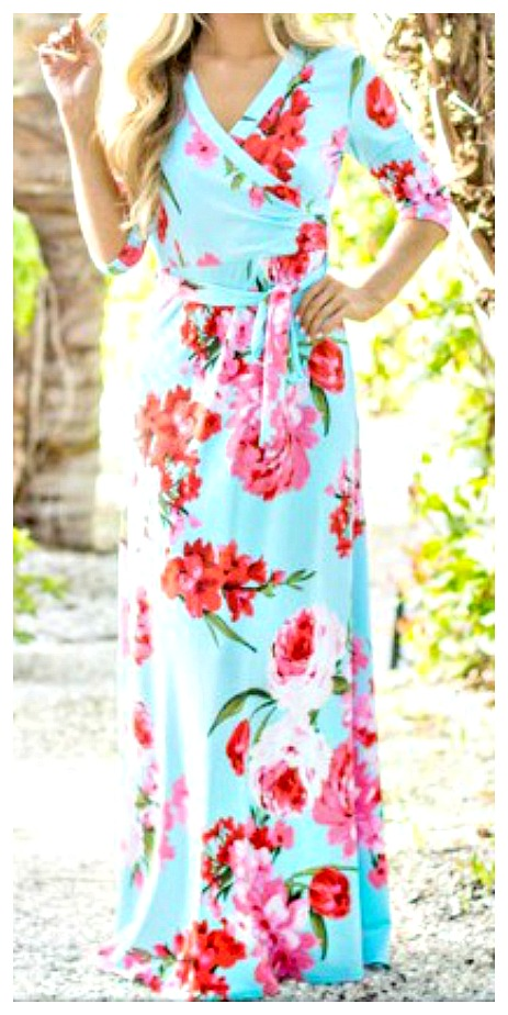 MAGNOLIAS BLOOM DRESS Three Quarter Sleeve Floral Wrap Self Tie Light Blue Maxi Dress