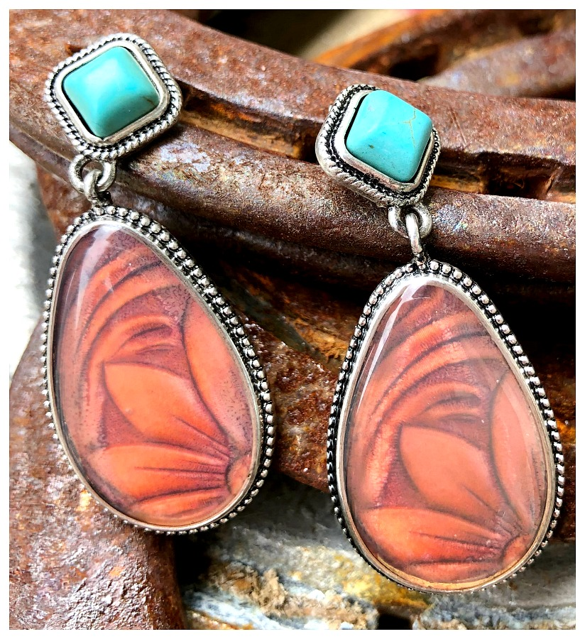 TURQUOISE GARDEN EARRINGS Brown Encased Floral Print Turquoise 925SS Western Earrings