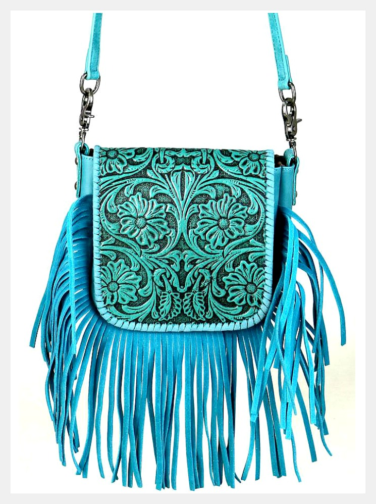 BOHEMIAN COWGIRL BAG  Genuine Tooled Leather Fringe Turquoise Crossbody Purse