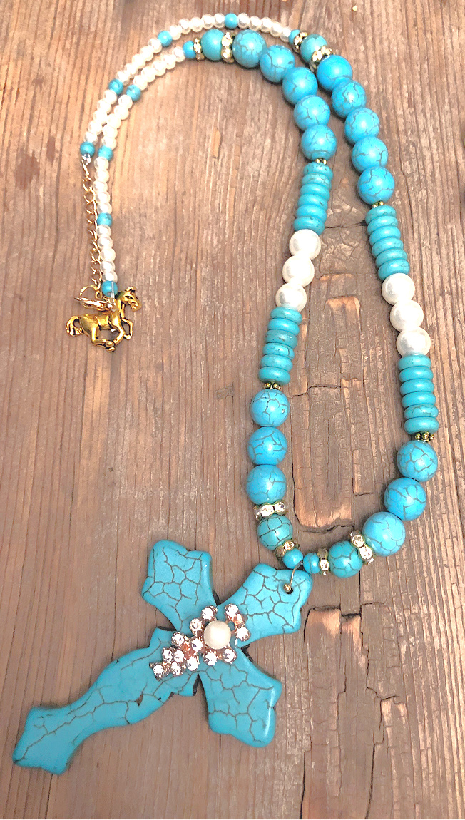 THE NOEL NECKLACE Handmade Rhinestone Pearl Turquoise Large Cross Horse Charm Beaded Gold Necklace