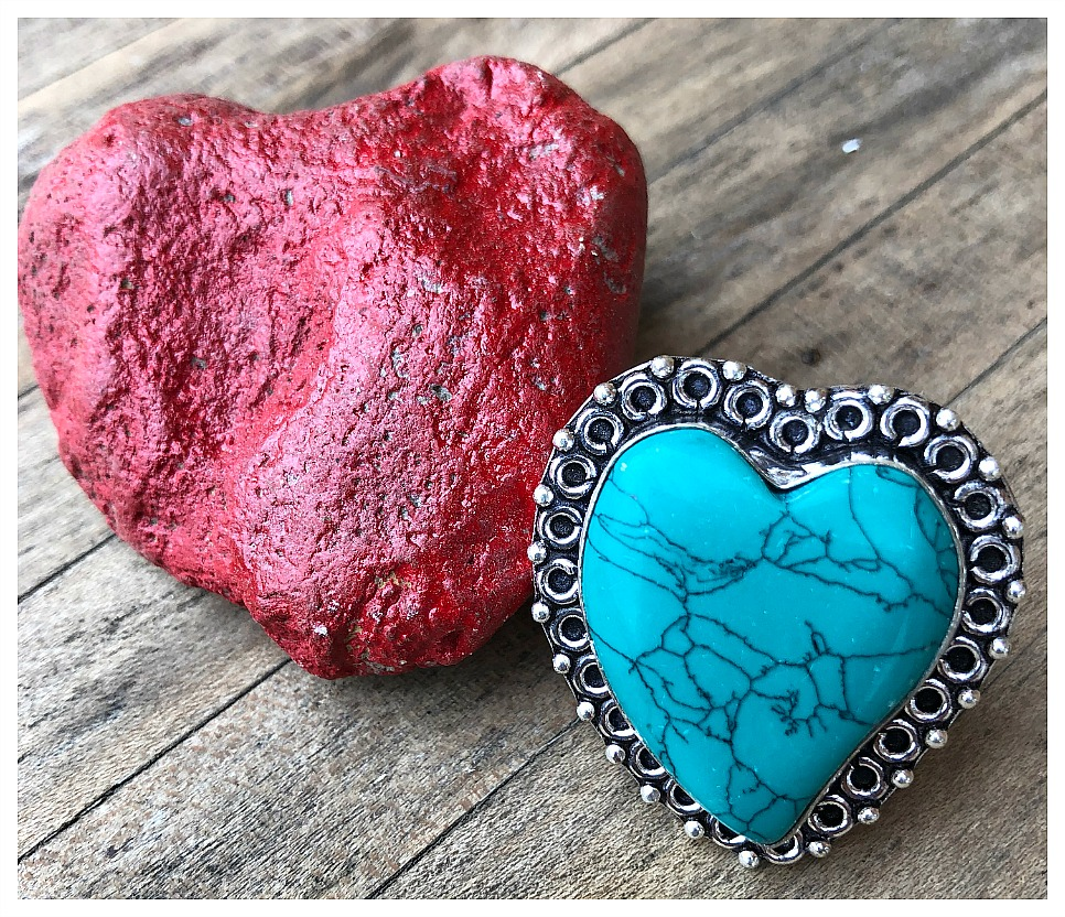 THE SWEETHEART RING Santa Rosa Turquoise Gemstone Heart 925 Sterling Silver Ring SIZE 7