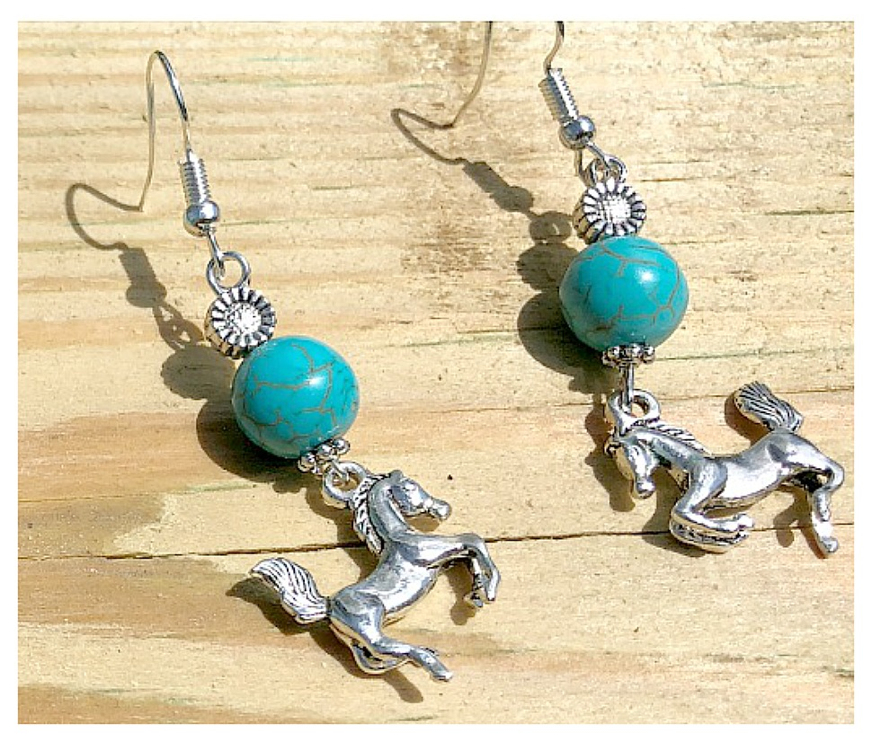 ALL ABOUT HORSES EARRINGS Silver Horse & Sunflower Turquoise Dangle Western Earrings