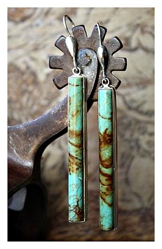 BOHEMIAN COWGIRL EARRINGS Turquoise Bar 925 SS Drop Earrings 4 LEFT!
