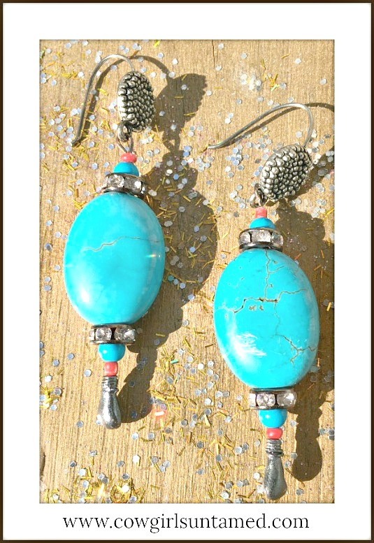 WESTERN COWGIRL EARRINGS Blue Turquoise Antique Silver & Rhinestone Earrings