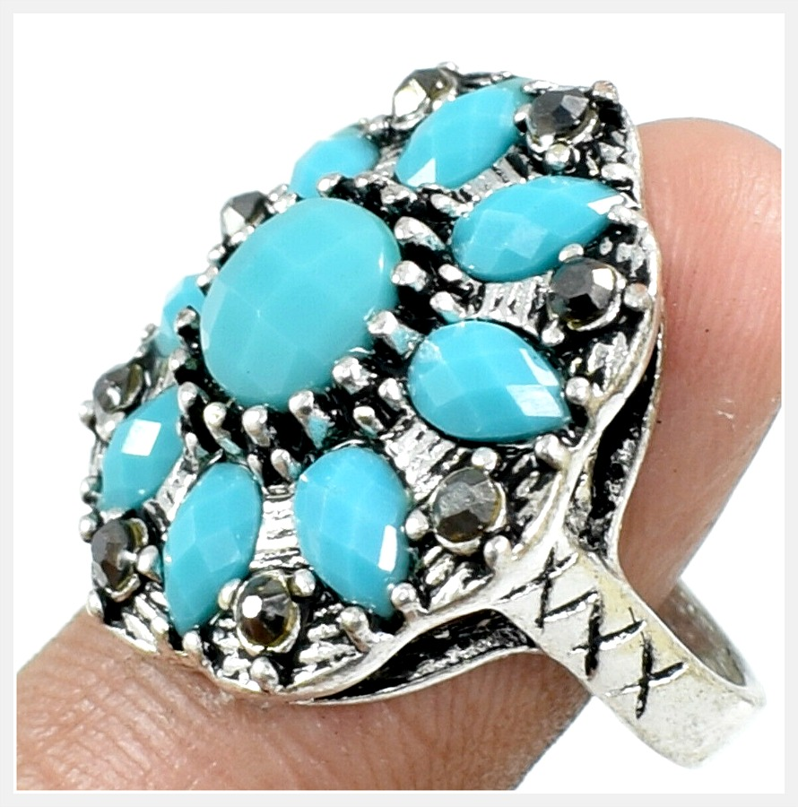 BOHEMIAN COWGIRL RING Turquoise Gemstone 925 Sterling Silver Plated Cocktail Ring Us 8