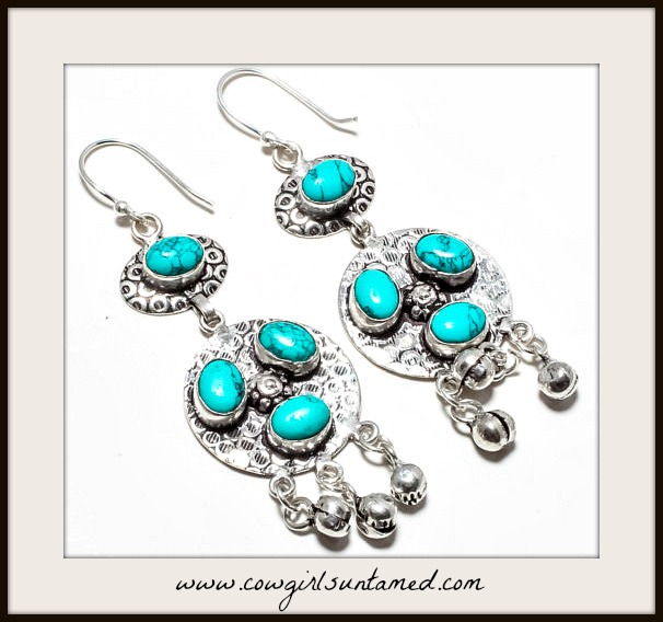 BOHEMIAN COWGIRL EARRINGS 925 SS Santa Rosa Turquoise Gemstone Long Earrings