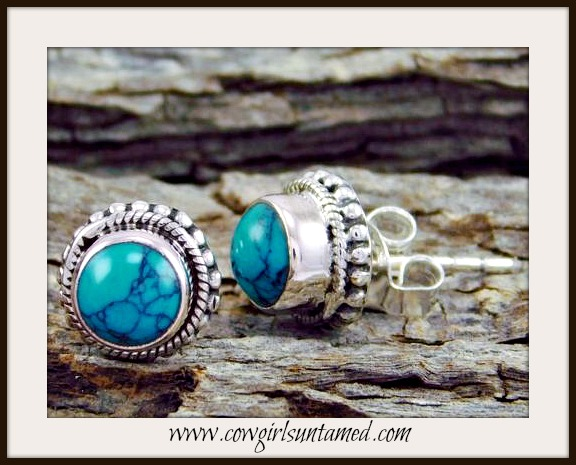 COWGIRL GYPSY EARRINGS Blue Turquoise Sterling Silver Stud Earrings