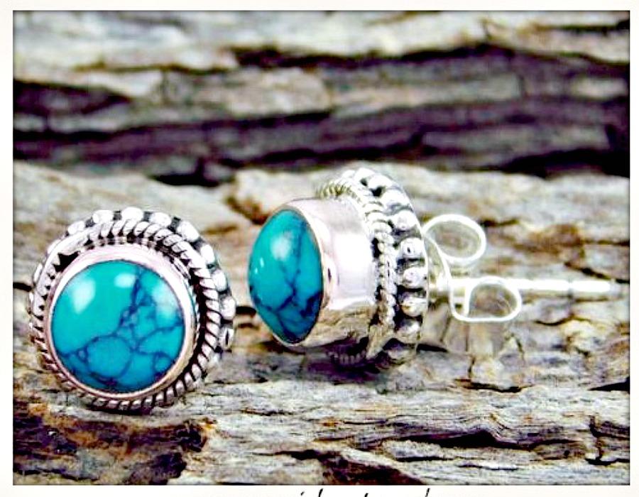 COWGIRL GYPSY EARRINGS Blue Turquoise Sterling Silver Stud Earrings