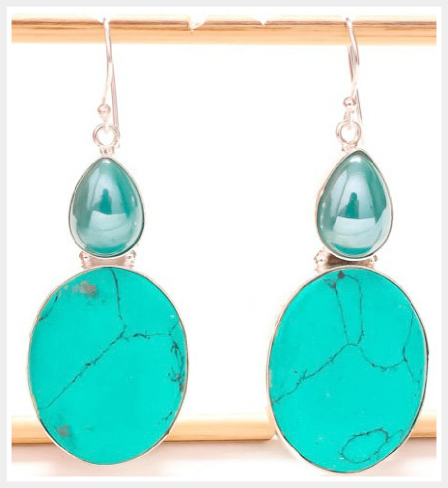 COWGIRL STYLE EARRINGS Santa Rosa Turquoise Gemstone Silver Dangle Earrings