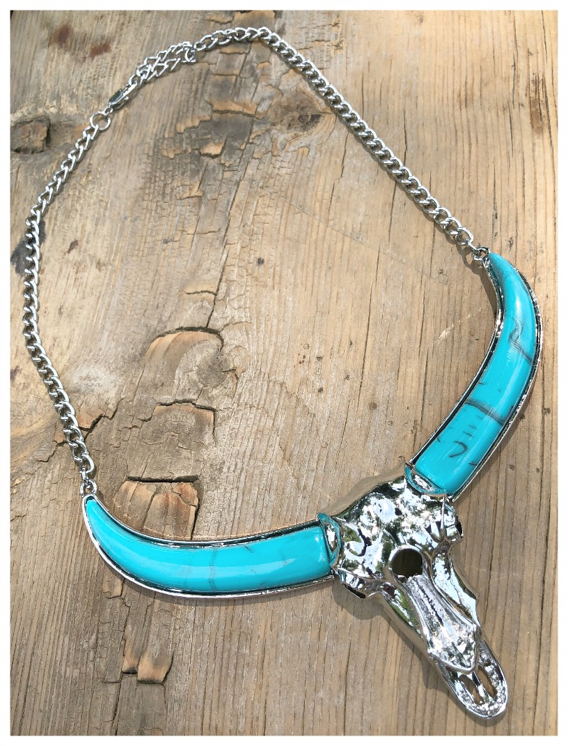 DON'T STEER ME WRONG NECKLACE Silver & Turquoise Large Steer Skull Western Statement Necklace LAST ONE