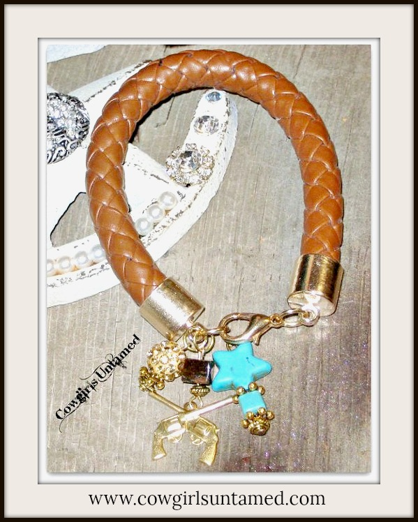 COWGIRL STYLE BRACELET Turquoise Star, Gold Sixshooter & Rhinestone Charms Brown Braided Leather Bracelet