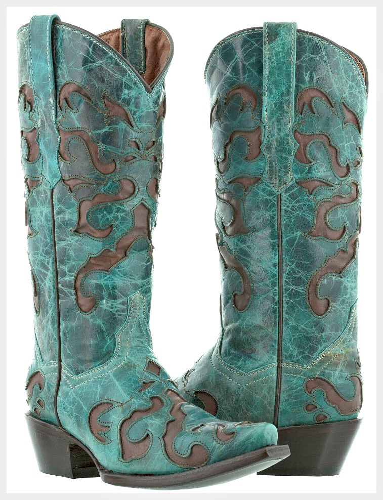 THE ENMASCARDA BOOT Turquoise Teal & Brown Inlay Genuine Leather Cowgirl Boots SIZES 5-11