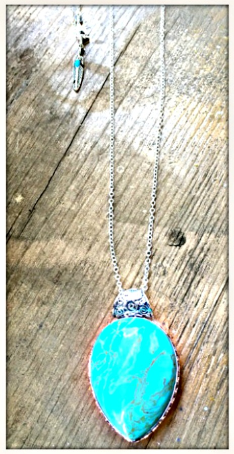 MAGNOLIAS BLOOM NECKLACE Teardrop Turquoise with Feather Charm Long Sterling Silver Necklace