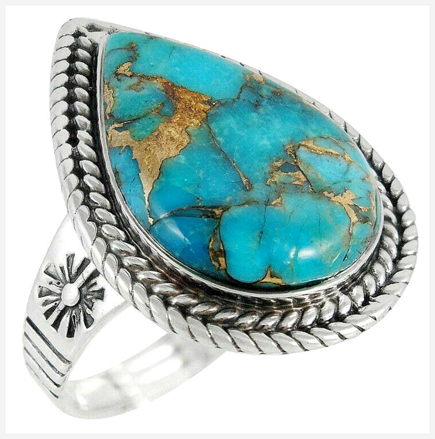THE SAN ANTONIO RING Antique Silver Women Men Teardrop Turquoise Carved Boho Ring Sizes 8 & 9