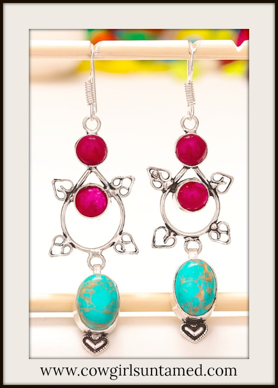 COWGIRL GYPSY EARRINGS Turquoise & Ruby 925 Sterling Silver Heart Long Earrings