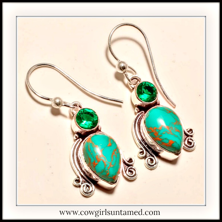 COWGIRL GYPSY EARRINGS Turquoise Teardrop with Green Tourmaline Gemstone 925SS Earrings