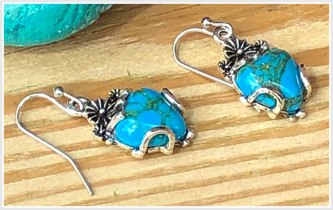 FROM THE HEART EARRINGS Turquoise Heart in Floral Silver Setting Dangle 925SS Earrings
