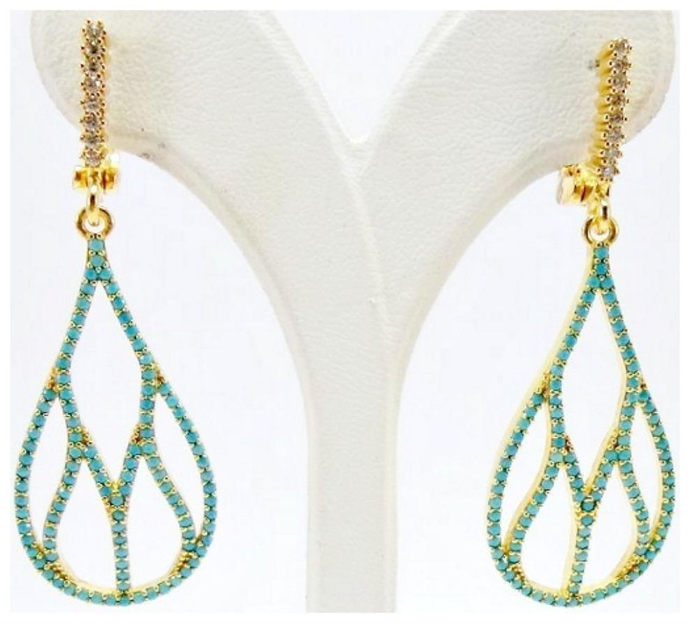 VINTAGE GYPSY EARRINGS Genuine Turquoise and Rhinestone Gold Plated Hoop Earrings