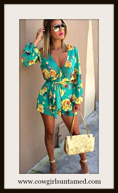 COWGIRL GYPSY ROMPER Green and Yellow Floral Long Sleeve Belted Shorts Romper