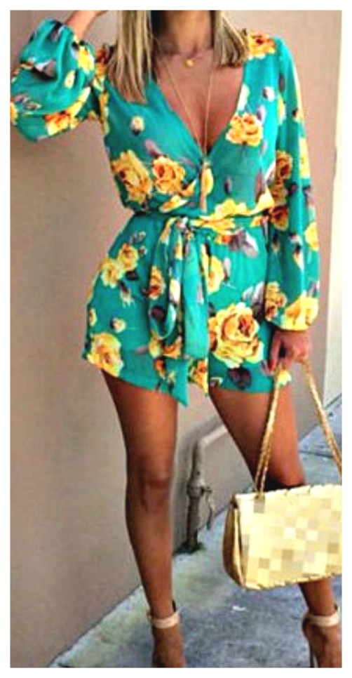BOHO ROMPER Green & Yellow Floral Long Sleeve Belted Summer Casual Shorts Romper Sizes S/M, M/L, L/XL