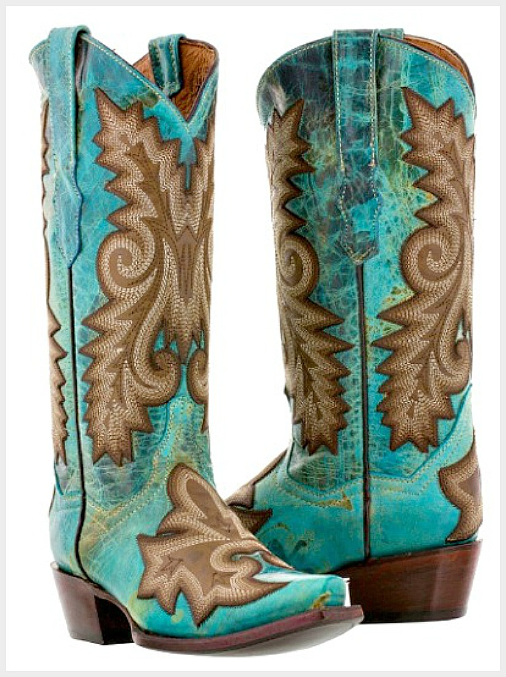 COWGIRL STYLE BOOTS Embroidered Tan & Turquoise GENUINE LEATHER Snip Toe Western Boots Sizes 5, 5.5, 6, 6.5, 7, 7.5, 10.5