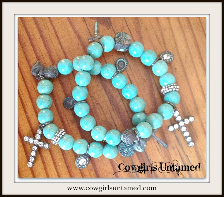 COWGIRL GYPSY BRACELET Rhinestone N Aqua Patina Cross Charm on Turquoise Beaded Western Stretch Bracelet