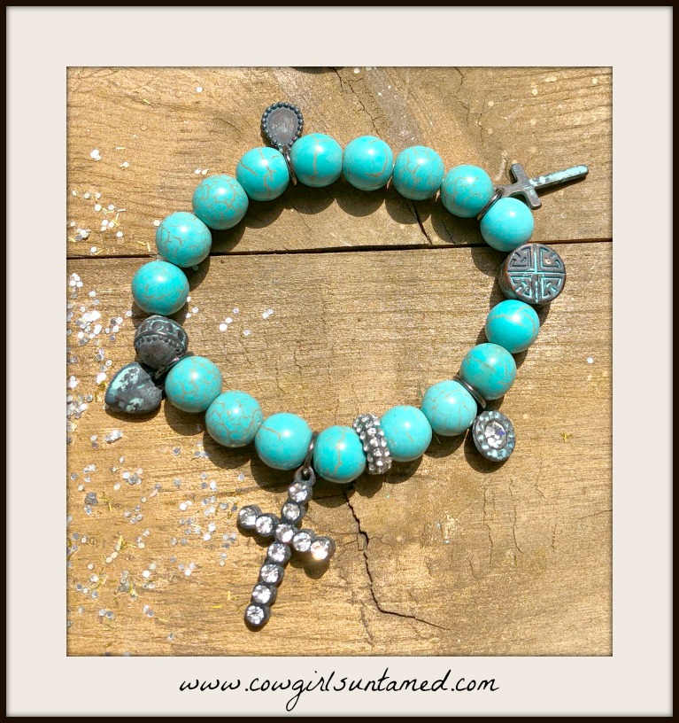 COWGIRL GYPSY BRACELET Rhinestone N Aqua Patina Cross Charm on Turquoise Beaded Western Stretch Bracelet