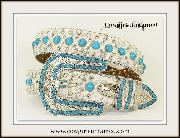 COWGIRL STYLE BELT Aqua Turquoise N Rhinestone Studded Turquoise White Hair on Hide Belt