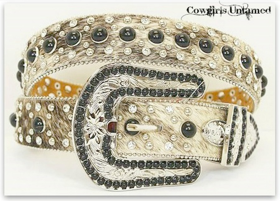 COWGIRL BELT Black Turquoise N Rhinestone Crystal Buckle Brown Hair on Hide Belt