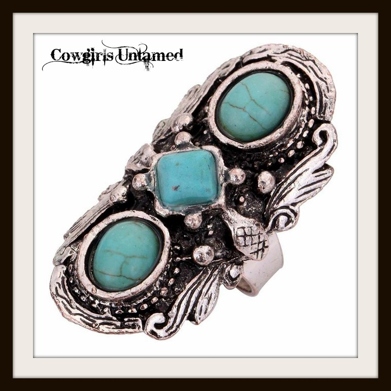 COWGIRL GYPSY RING Turquoise N Tibetan Silver Large Cocktail Western Ring
