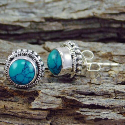 COWGIRL STUD EARRINGS Dotted Silver Setting with Blue Turquoise Stud Earrings