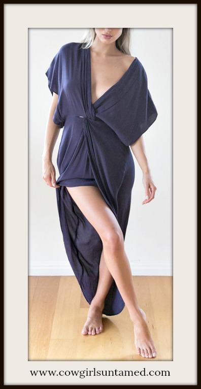 BOHEMIAN COWGIRL DRESS Blue Sleeveless Deep V High Low Faux Wrap Dress