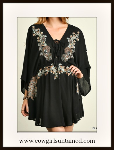COWGIRL GYPSY TOP Lace Up Neckline Embroidered Floral Black Dolman Sleeve Boho Blouse