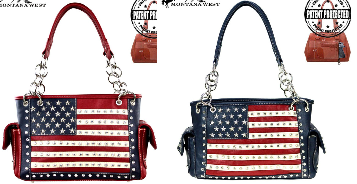 STAR SPANGLED BANNER BAG Red White & Blue Stars & Striped USA American Flag Conceal & Carry Handbag