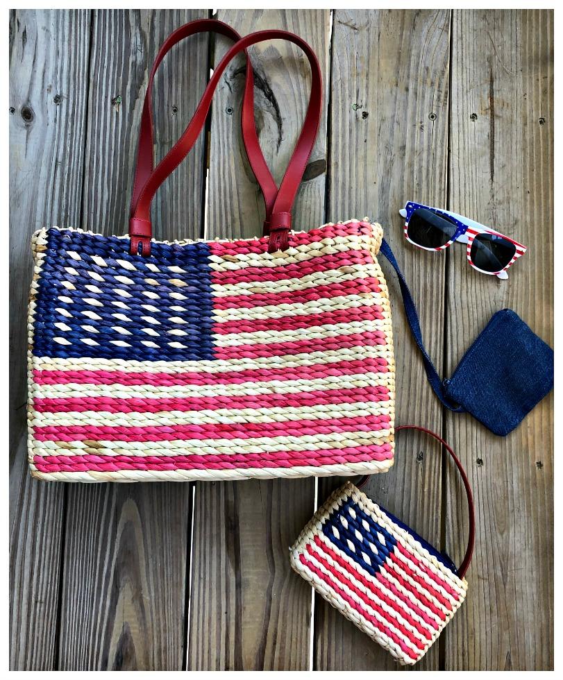 AMERICAN PRIDE HANDBAG SET Red & Blue USA Flag Large and Small Straw Handbag Sunglasses 4 pc SET LAST ONE!