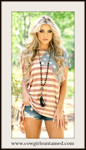 AMERICAN COWGIRL TOP Red White & Blue Stars and Stripes Caps Sleeve Tee