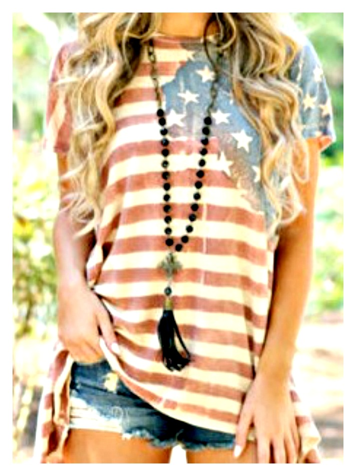 AMERICAN COWGIRL TOP Red White & Blue Stars and Stripes Caps Sleeve Tee LAST ONE!