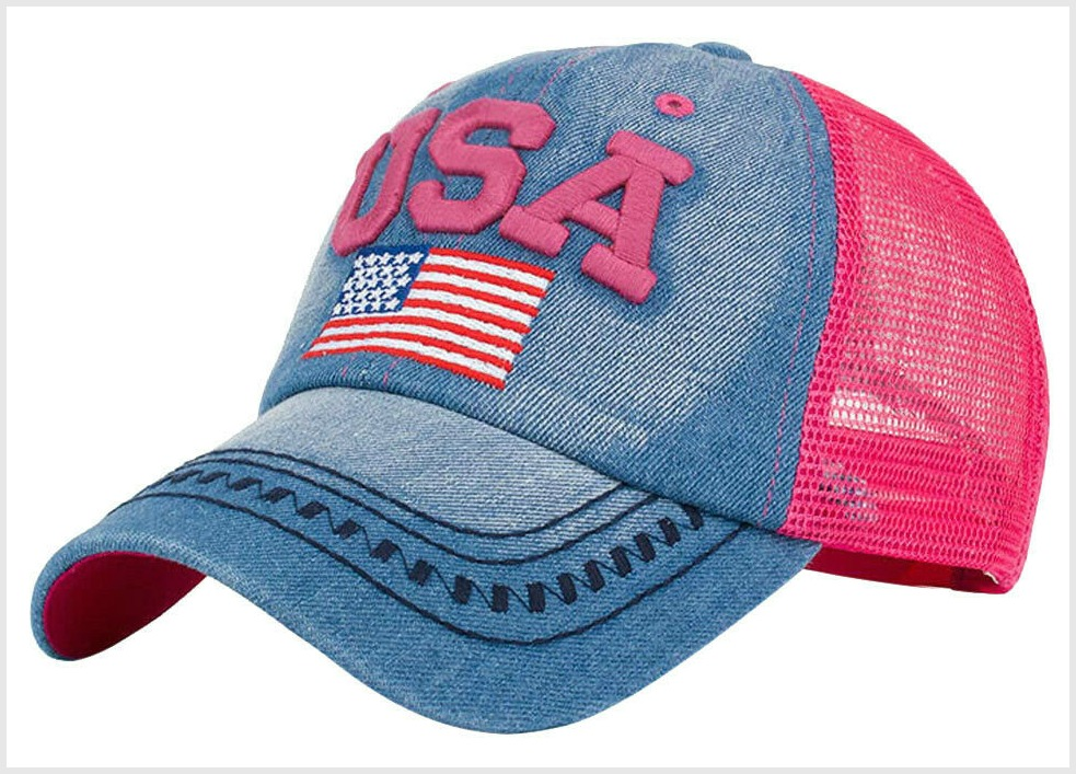 "AMERICAN COWGIRL HAT Embroidered American Flag & Hot Pink ""USA"" Blue Denim Womens Baseball Barn Cap"