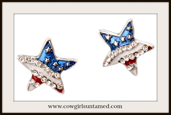 AMERICAN PRIDE EARRINGS Red White & Blue US Flag Rhinestone Stud Earrings