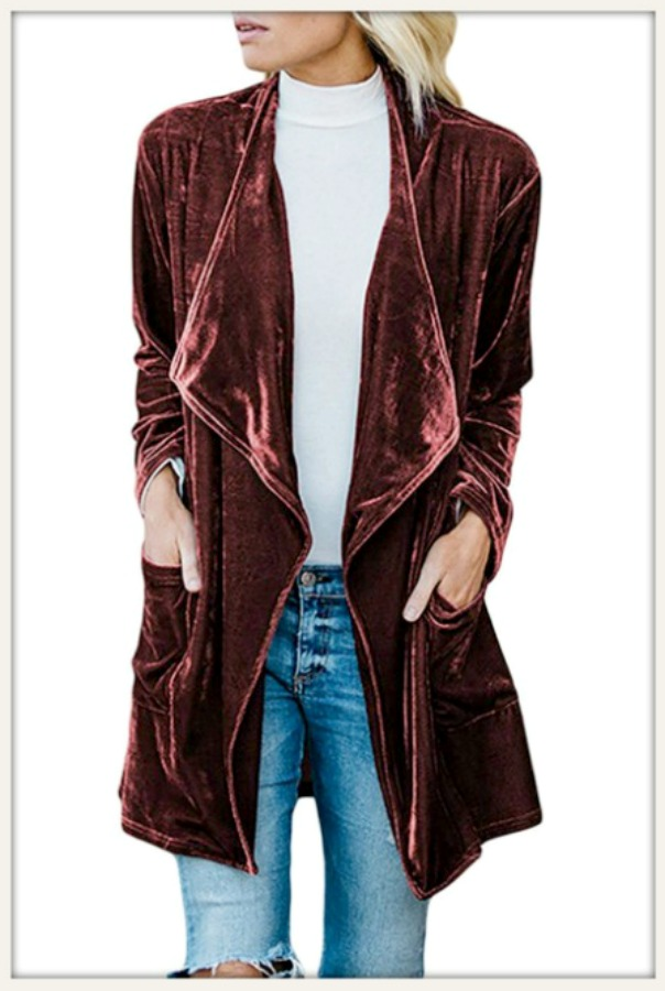 BOHEMIAN COWGIRL JACKET Wine Velvet Long Sleeve Open Oversized Long Boho Jacket