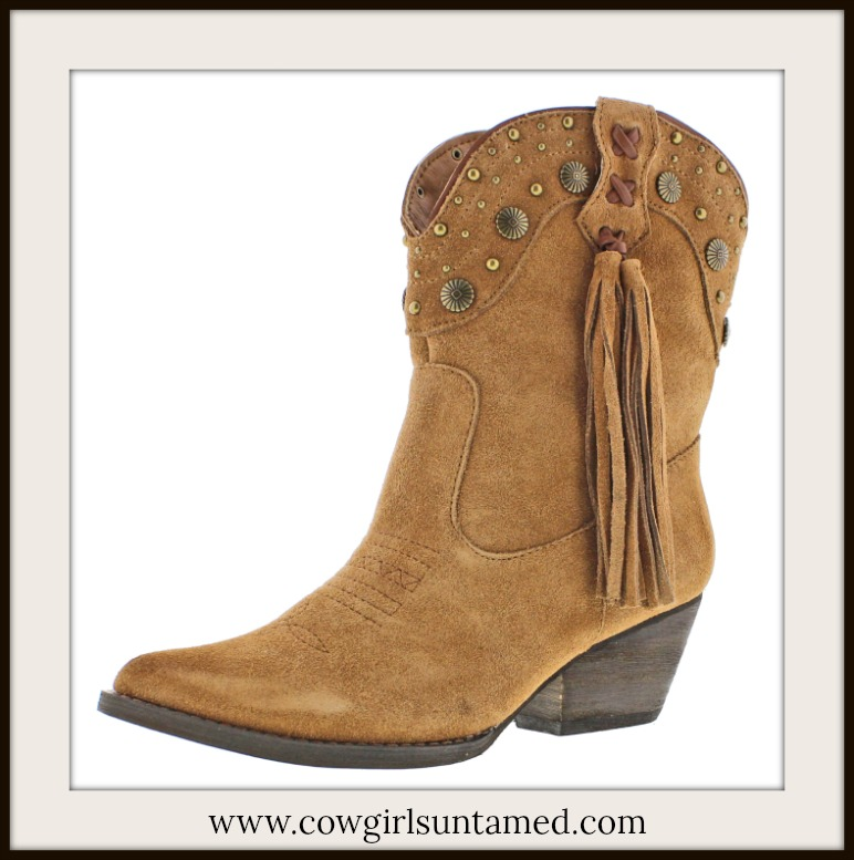 DESIGNER BOOTS Bronze Studded & Tassel Brown Suede Midcalf Boots